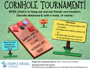 Flyer for Cornhole Tournament at Temple Israel
