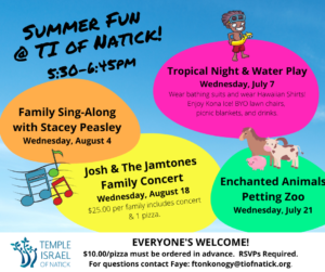 Temple Israel Flyer for Summer Fun