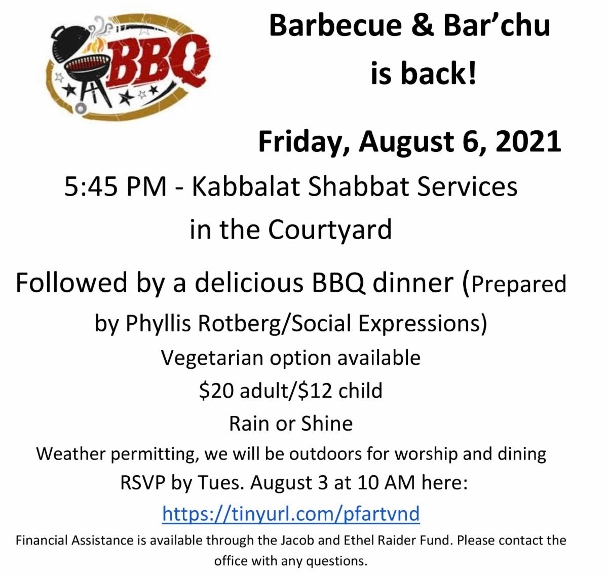 Temple israel flyer for BBQ and barachu