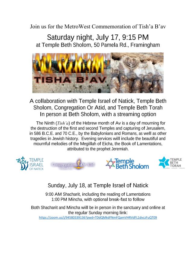 Flyer for community Tish'a B'av Event